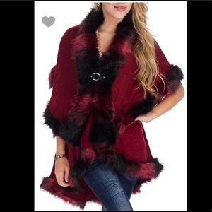Jackets & Blazers - Burgundy Wrap poncho style Ladies Fur Trim Jacket
